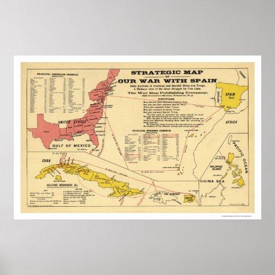 Spanish American War Map 1898 Poster