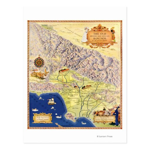 Spanish and Mexican Ranchos of Los Angeles Map Postcard