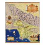 Spanish and Mexican Ranchos of Los Angeles Map Poster