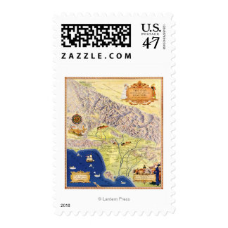 Spanish and Mexican Ranchos of Los Angeles Map Stamp