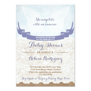 Spanish Baby Shower Invitation With Angel Wings
