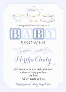Spanish Baby Shower Tea Invites For Boy In Blues