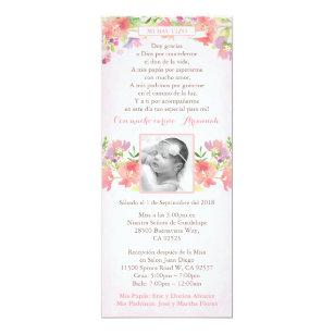 Spanish Bautizo Pink Floral Baptism Invites Girl