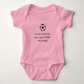 Spanish: bebé y futbol / Soccer baby pink Baby Bodysuit