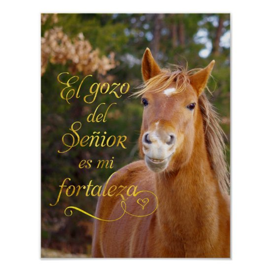 Spanish Bible Verse Smiling Horse Poster