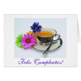 Spanish: Birthday/Cumpleaños taza y flores Card
