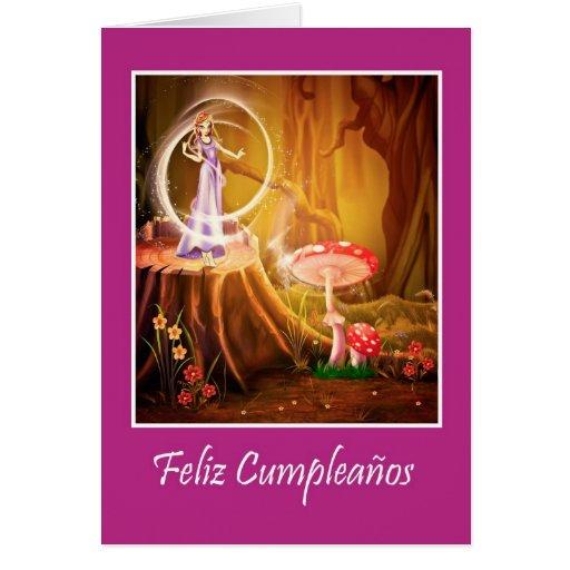 Spanish birthday for girl with fairy card