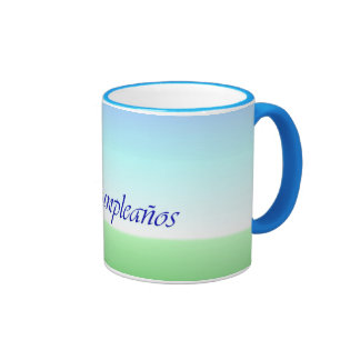 Spanish Birthday Green Blue Ringer Mug