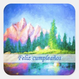Spanish Birthday Pink Mountain Blue Sky Sticker