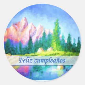 Spanish Birthday Pink Mountain Round Sticker