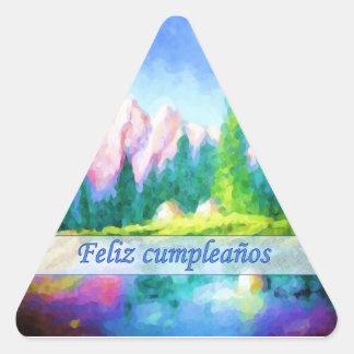 Spanish Birthday Pink Mountain Triangle Sticker