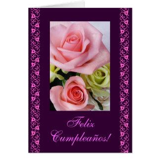 Spanish: Birthday pink roses / rosas de cumpleanos Card