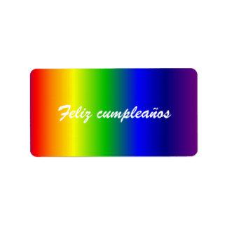 Spanish Birthday Rainbow Colors Label