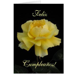 Spanish: birthday rose/ Cumpleanos, rosa Card