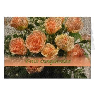 Spanish Birthday Tiled Peach Roses Card
