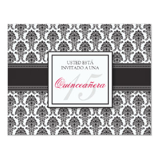 SPANISH Black Damask Quinceañera Formal Invitación Card