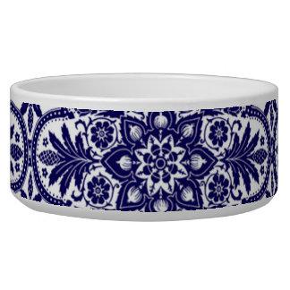 Spanish Blue Flower Pet Bowl