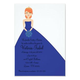 "spanish BLUE PRINCESS quinceañera invitation 3.5"" X 5"" Invitation Card"
