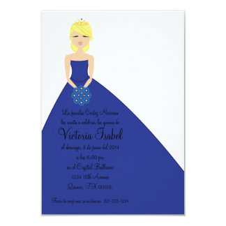 "spanish BLUE PRINCESS quinceanera invitation 3.5"" X 5"" Invitation Card"