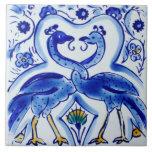 "Spanish Blue &amp; White Birds Ceramic Photo Tile<br><div class=""desc"">Blue and white Spanish intertwined birds design</div>"
