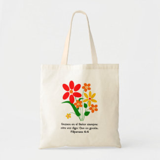 Spanish - Bright Flowers with Bible Verse Bag