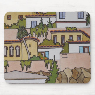 Spanish Buildings And Church Mouse Pad