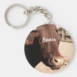 Spanish Bull Basic Round Button Keychain