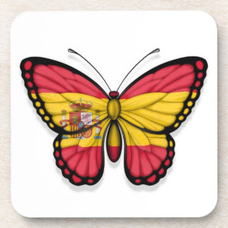 Spanish Butterfly Flag Beverage Coasters