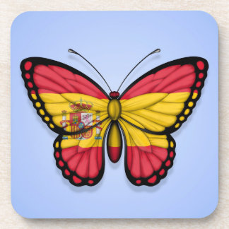 Spanish Butterfly Flag on Blue Beverage Coaster