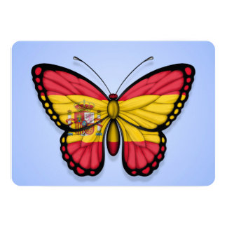 "Spanish Butterfly Flag on Blue 5"" X 7"" Invitation Card"