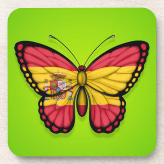 Spanish Butterfly Flag on Green Drink Coaster