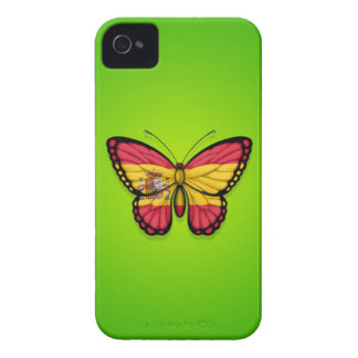 Spanish Butterfly Flag on Green iPhone 4 Cases