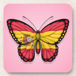 Spanish Butterfly Flag on Pink Drink Coasters