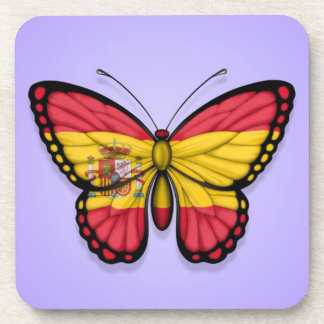 Spanish Butterfly Flag on Purple Drink Coasters