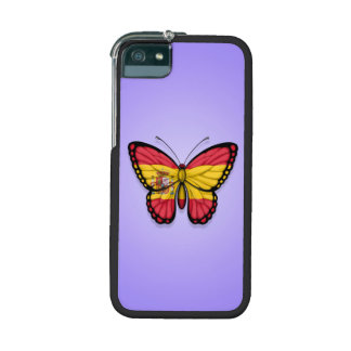 Spanish Butterfly Flag on Purple iPhone 5 Case