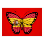 Spanish Butterfly Flag on Red Business Card