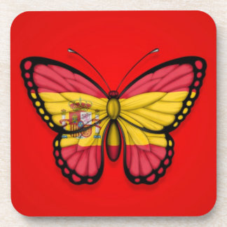 Spanish Butterfly Flag on Red Coaster