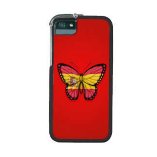Spanish Butterfly Flag on Red iPhone 5 Case