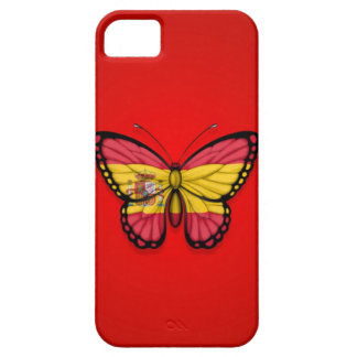 Spanish Butterfly Flag on Red iPhone 5 Cases