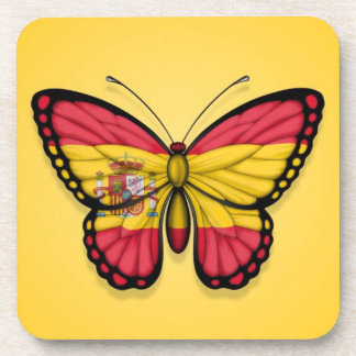 Spanish Butterfly Flag on Yellow Beverage Coaster