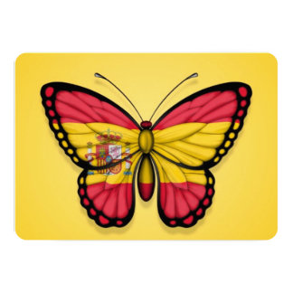 """Spanish Butterfly Flag on Yellow 5"""" X 7"""" Invitation Card"""