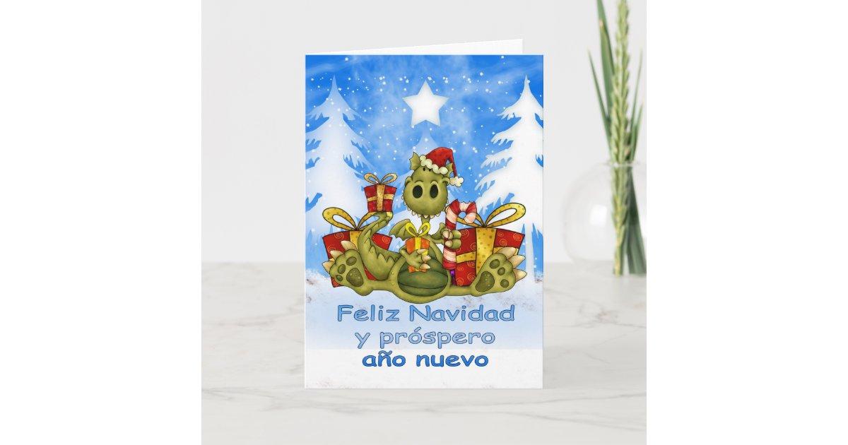 Spanish Christmas Card - Cute Dragon - Feliz Navid | Zazzle.com