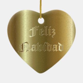 Spanish Christmas Golden Heart Ornament