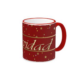 Spanish Christmas Golden Stars Red Ringer Mug