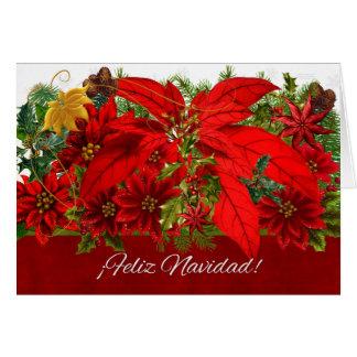Spanish Christmas Poinsettias ¡Feliz Navidad! Card