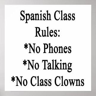 Spanish Class Rules No Phones No Talking No Class Print