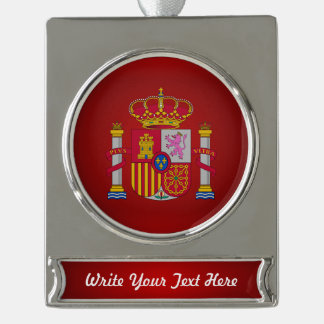 Spanish coat of arms silver plated banner ornament