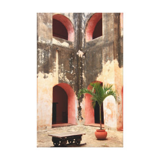 Spanish Colonial Mission Courtyard Canvas Print