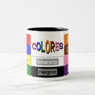 spanish colors vocabulary practice Two-Tone coffee mug
