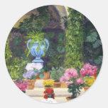 Spanish Courtyard Round Stickers